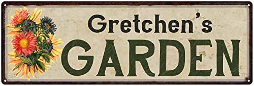 Garden Gretchen - Gretchen's Garden Personalized Flower Chic Decor 6x18 Sign 8 x 24 Matte Finish Metal 108240017447