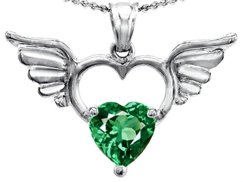 14k Heart Shape Slide (Star K Wings Of Love Birth Month Pendant Necklace with 8mm Heart Shape Simulated Emerald Sterling Silver)