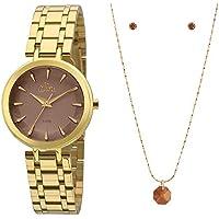 98c2cd0da7 Kit Relógio Allora Feminino Facetados Al2036fll k4m- Dourado