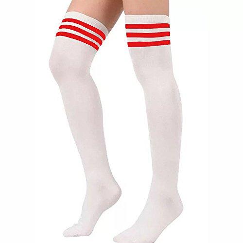 Gliterstar Retro Thigh High Tube Socks Casual Sport Cosplay Stripe Long Socks for Women Girl (1 Pair, White + Red)