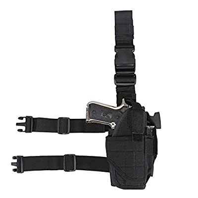 Eilin Tactical Gun Holster Thigh Drop Leg Bag Belt Cross Over Nylon Military Pistol Magazine Pouch for Outdoor Hunting Cycling Motorcycle
