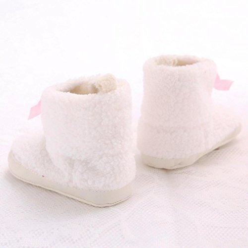 Ouneed® Krabbelschuhe , baby Säuglings kleinkind Bowknot weiche alleinige Schnee Aufladungs Baby Krippe Schuhe Weiß