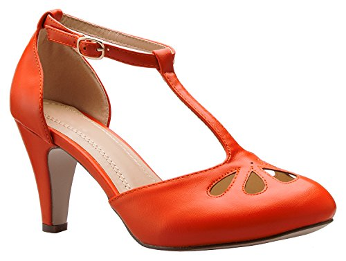 OLIVIA K Women's Low Heels Mary Jane Pumps - Adorable Vintage Shoes- Unique Round Toe Design with an Adjustable T Strap Orange