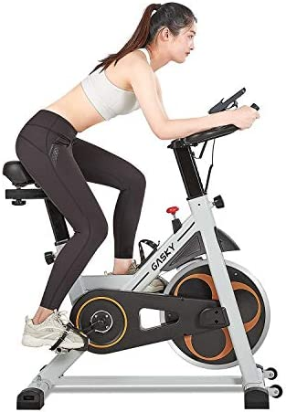Gasky Indoor Stationary Bike Exercise Bikes Spin Bike Belt Drive Cycling Home Use with LCD Monitor Tablet Holder