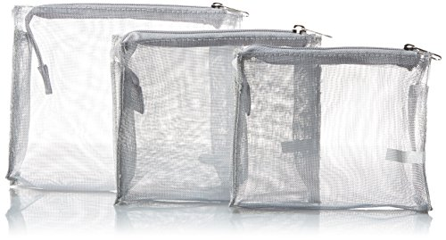 Harry D Koenig & Co Cosmetic Bag 3 Piece Set, Silver by Harry D Koenig & Co