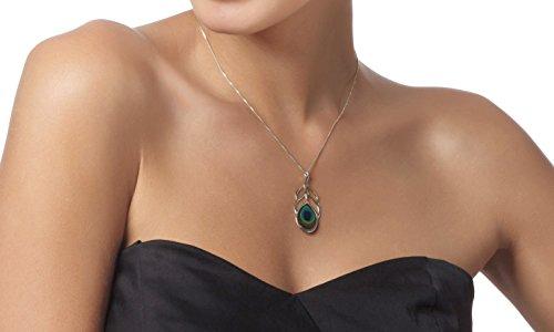 Parure Plume de Paon d'Argent - Boucle d'oreilles et Collier pendentif Faits main - Petit modèle