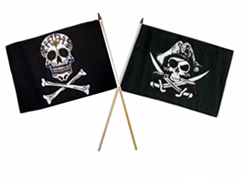 ALBATROS 12 inch x 18 inch Pirate Sugar Skull with Deadmanins Chest Stick Flag for Home and Parades, Official Party, All Weather Indoors Outdoors