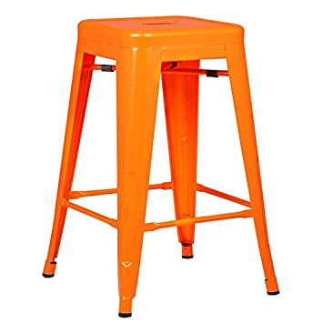 Poly and Bark Trattoria 24 Counter Height Stool in Orange Set of 2