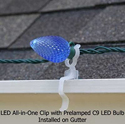 Holiday Lighting Outlet LED All In One Plus Christmas Light Clip, Works on Gutters & Shingles. Pack of 100