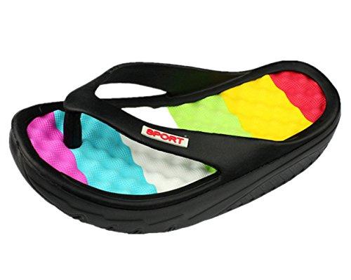 Massage Comfort Thong (ANBEI Women's Beach Flip Flops Wedges Thong Slippers Massage Sandals Black 37)