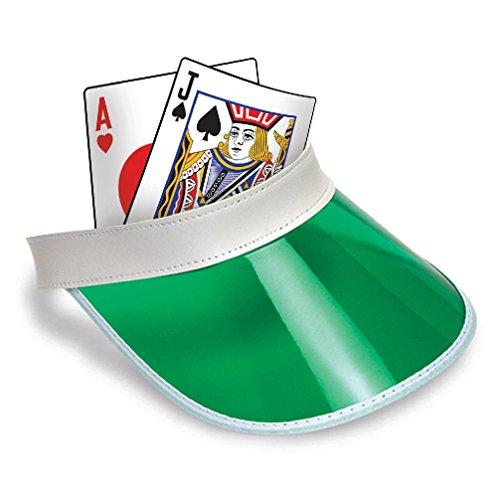 Las Vegas Blackjack Dealer Bingo Plastic Clear Visor Hat Fear & Loathing Green