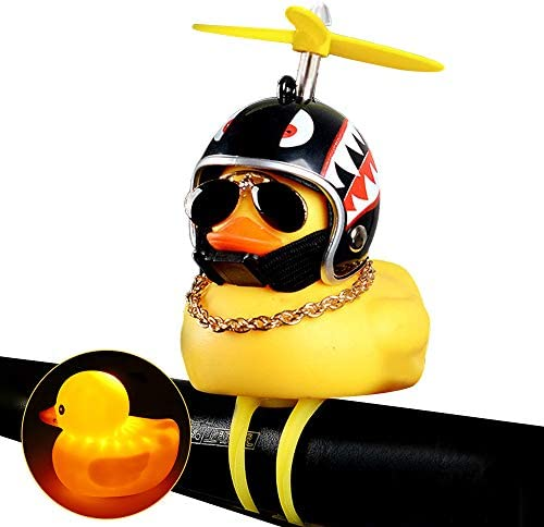 Rubber Duck Bicycle Accessories with LED Light MagicFox 3 Pack Duck Bike Bell Cute Rubber Duck Toy for Toddler Kids Girls Boys Adult Car Ornaments Yellow Duck Car Dashboard Decorations