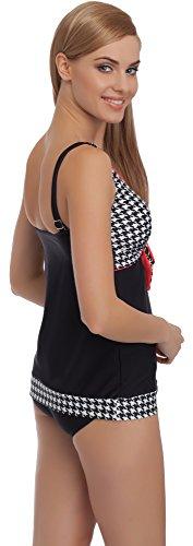 Merry Style Mujer Tankini Traje de Baño MS55 Negro/Blanco