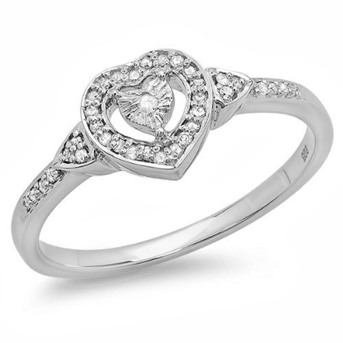 015-Carat-ctw-Sterling-Silver-Round-White-Diamond-Ladies-Bridal-Heart-Shaped-Promise-Ring