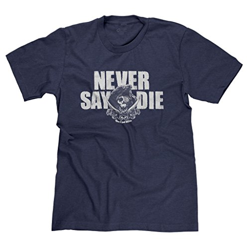 FreshRags Goonies Never Say Die Funny 80's movie Parody Men's T-shirt LG Heather Navy 307