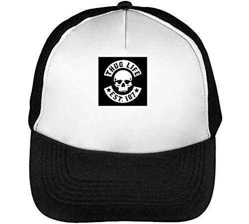 Negro Beisbol Gorras Skull Blanco Thug Hombre Logo Snapback Life wO0ttxqY