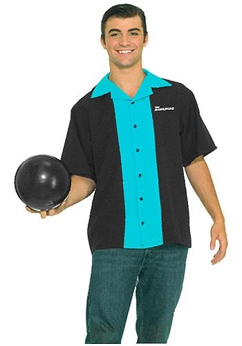 Forum Flirtin With The 50S King Pins Bowling Shirt, Black/Blue, Plus (Men's 50's Bowling Shirt Costume)