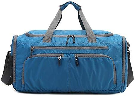 紳士ハンドバッグ メンズファッションジムスポーツウィークエンドバッグ軽量収納可能トートバッグナイロントラベルショルダーバッグ荷物バッグオーバーナイトクロスボディバッグ防水 便利で多用途 (色 : Blue, Size : 51x30x26cm)