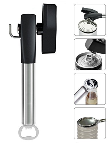 CLOUDWING Multi-Functio Manual Stainless Steel Safe Can Opener,Easy To Turn Knob,No Sharp Edges and Lid Won't Touch The Food, Black by CLOUDWING