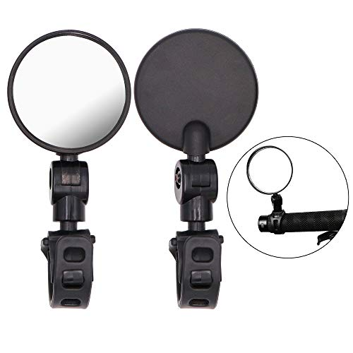 Jeemitery Bicycle Rearview Mirrors, A Pair of Bicycle Cycling Rear View Mirrors Adjustable Rotatable Handlebar Mounted Plastic Convex Mirror for Mountain Road Bike