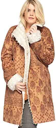 582ba3becbd Castaluna Women s Plus Size Printed Faux-Shearling Coat with Shawl Collar by