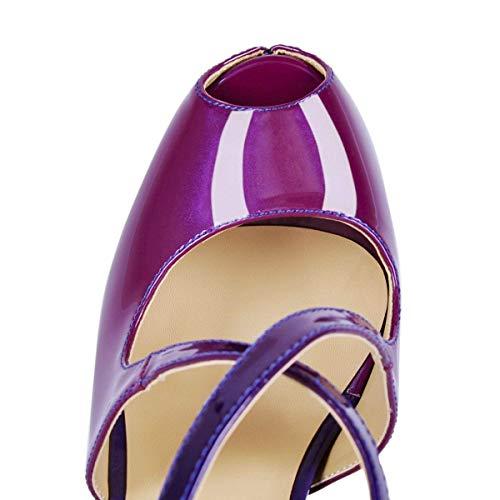 Sandal Blue Heels Pumps Block Women Shoes High Caitlin Pan Heel Purple Court To Platform 16cm Tx06gwy8Aq
