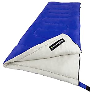 "Wakeman Sleeping Bag, 2-Season with Carrying Bag for Adults Up to 5'11"", Spirit Lake Sleeping Bag Outdoors (Blue) (for Camping and Festivals)"