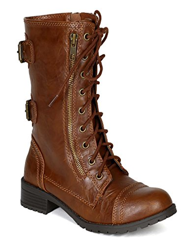 Soda BG31 Women Leatherette Lace Up Buckles Military Combat