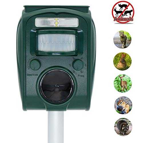 ZOVENCHI Solar Powered Ultrasonic Animal Repeller,Waterproof,Motion Activated & LED Lights,Scare unwanted Animals Away, Like:Cats/Dogs/Squirrels/Raccoons/Foxes/Skunks/Rabbit etc,Protect Your Land. ()