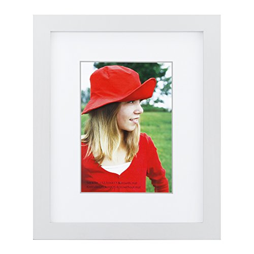 RPJC 8x10 inch Picture Frame Made of Solid Wood and High Definition Glass Display Pictures 5x7 with Mat or 8x10 Without Mat for Wall Mounting Photo Frame White