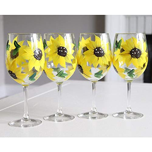 - Hand Painted Sunflower Hand Painted Artisan Stemmed Wine Glasses Set of 4 Sunflowers, 11 oz
