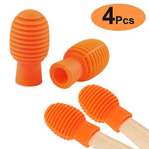 Drum accessories 4 Pcs Drum Mute Drum Dampeners Silicone Drumstick Silent Practice Tips Replacement Musical Instruments Accessories Percussion Kit (Orange)