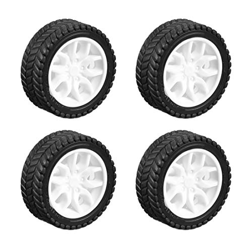 (uxcell 30mm Rubber Toy Car Wheel Tires DIY Model Robots 4pcs, White and Black)