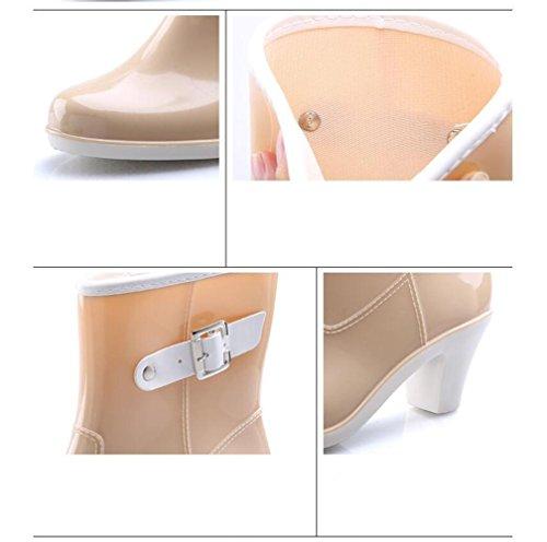 de de de sección en señoras goma de botas zapatos tubo de de lluvia Botas tacón del de hebilla agua las alto beige amp;JAXIE la lluvia Y las zapatos v4qBPn