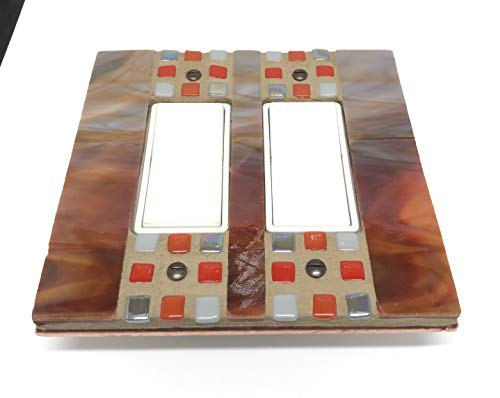 Light Switch Cover, Rust and Gray Stained Glass, Switch Plate, Unique Switch Covers, Double Decora, Outlet Cover, Dimmer Switch, 9149 ()