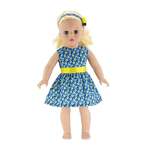 18 Inch Doll Clothes | Blue and Yellow Floral Easter Dress, Including Matching Flowered Headband | Fits American Girl Dolls