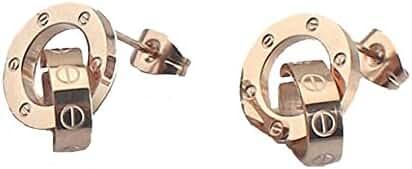 Baoli Titanium Rose Gold Screw Design Women's Love Earring