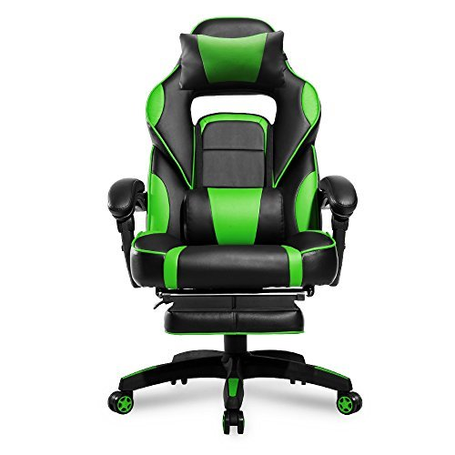 Merax High-Back Racing Home Office Chair, Ergonomic Gaming Chair with Footrest, PU Leather Swivel Computer Home Office Chair including Headrest and Lumbar Support (green)