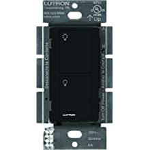 Caseta Wireless Smart Lighting Switch for All Bulb Types and Fans, PD-6ANS-BL, Black, Works with Alexa