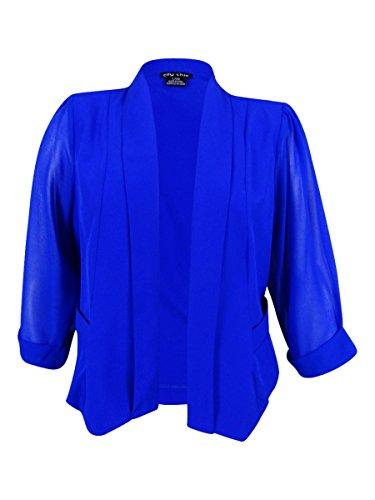 Cropped Coloured Drapey Plus Size Blazer Jacket in Ultra Blue - Size 20 / (City Blazer)