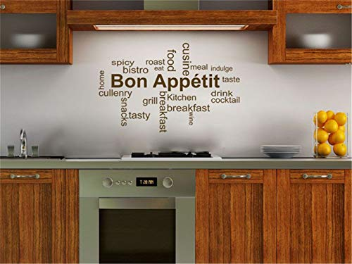pikaaq Vinyl Decal Quote Art Wall Sticker Mirror Decal Kitchen Wall Quote Bon Appetit Words Kitchen Breakfast Drink for Kitchen -