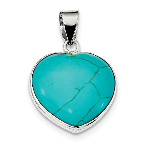 (Sterling Silver Heart Turquoise Pendant (1.38 in x 0.94 in))