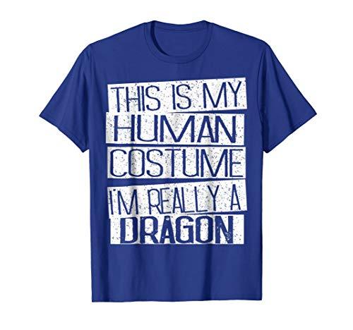 Mens This Is My Human Costume I'm Really A Dragon Shirt 2XL Royal Blue