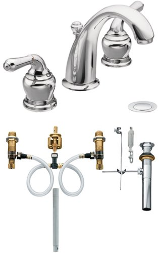 Moen T4572-9000 Monticello Two-Handle High Arc Bathroom Faucet with Valve, Chrome