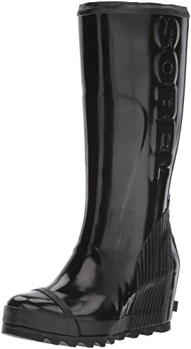 (Sorel Women's Joan Rain Wedge Tall Gloss Boot, Black, sea Salt, 9 M US)
