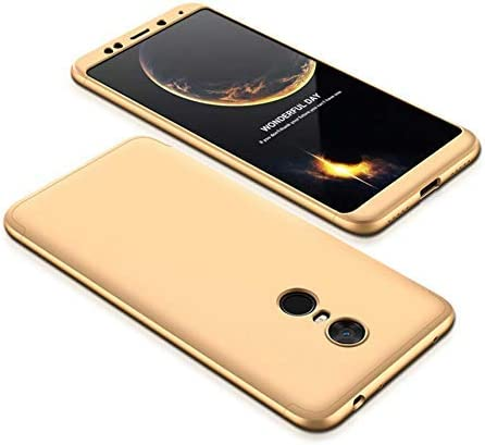 BCIT Xiaomi Redmi 5 Plus Funda Funda Xiaomi Redmi 5 Plus 360 Grados Integral para Ambas Caras + Cristal Templado, Luxury 3 in 1 PC Hard Skin Carcasa Case Cover para Xiaomi Redmi 5 Plus (Oro)