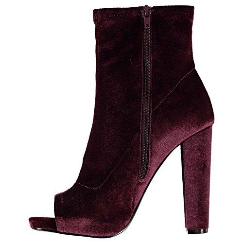Steve Madden Mujer Especial Botas Zapatos Calzado Casual Tobillo Invierno Tercipelo Borgoña 38