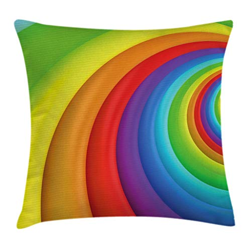 """Ambesonne Rainbow Throw Pillow Cushion Cover, Rainbow Colored Half Circles Getting Bigger and Bigger Perspective Computer Graphic, Decorative Square Accent Pillow Case, 20"""" X 20"""", Vivid Rainbow"""