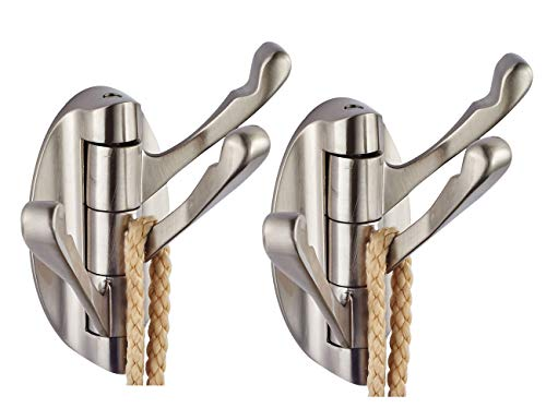 Xogolo Swivel Hook 2 PACK for Heavy Duty Folding Swing Arm Triple Coat Hook with Multi Three Foldable Arms Towel/Clothes Hanger for Bathroom Kitchen Garage Wall Mount, Brushed Nickel
