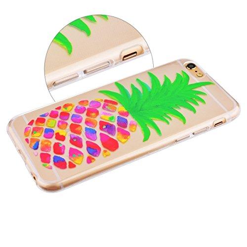 SpiritSun iPhone 6 Hülle iPhone 6S Hülle (4.7 zoll) Schöne Muster Schutzhülle Bunte Ananas Handyhülle Durchsichtig TPU Silikon Schale Weich Tasche Ultradünnen Leichtgewicht Case Cover Anti-stoß Kratzf
